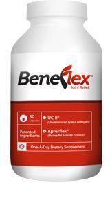 Beneflex is the latest in cutting edge nutritional research. A new, premium joint formula in one small, highly concentrated capsule. Beneflex provides four main inngredients: AprésFlex® - Boswellia Serrata Extract. UC-II® (providing 10mg undenatured type II collagen). Plus Hyaluronic Acid and Turmeric for additional joint relief.