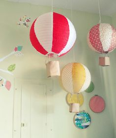 "~""hot air balloons"" from paper lanterns - cute for a kids room~"