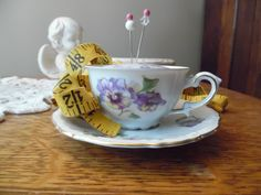 Antique Bavarian China Small Teacup and Saucer Pincushion Lavender Fabric, Lavender Flowers Gold Trim Sewing Quilting by KylesUpcycle on Etsy