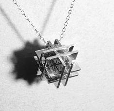 puzzle w Cube Pendant  Silver