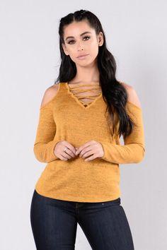 Cold Shoulder Top - Mustard/Black