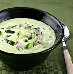 Chilled cucumber and avocado soup from The Perfect Pantry was a #DeliciouslyHealthyLowCarb recipe find from August 2015.  {vegetarian, gluten-free} [ThePerfectPantry.com]