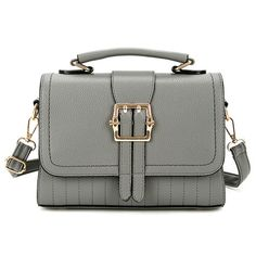 $24.31 Buckle Strap Faux Leather Crossbody Bag - Gray