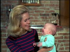 "Elizabeth on the ""Bewitched"" set with one of the Murphy twins (Erin Murphy later became the full-time character Tabitha)"