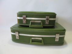 A personal favorite from my Etsy shop https://www.etsy.com/listing/195107997/luggage-suitcase-green-set-wedding-prop