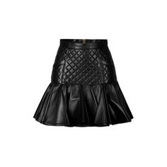 Balmain - Leather Quilted Skirt with Flared Hem from styl...