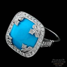 Cathy Carmendy's magnificent Persian turquoise and pave diamond ring is cross-shaped and set in platinum.