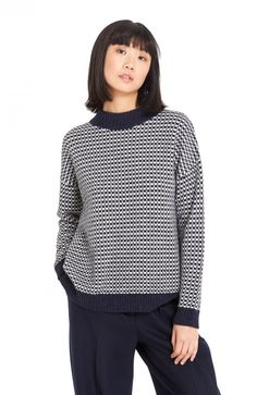 Fisherman's Jumper (navy/ecru)