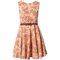 Club L Floral Belted Skater Dress (1.030 UYU) ❤ liked on Polyvore featuring dresses, short dresses, vestidos, robes, nude, party dresses, nude dress, red flare dress, mini dress and short floral dresses