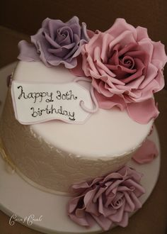 https://flic.kr/p/bpsVFi | Damask celebration cake | Pale pink cake with pink and lilac roses for a 30th birthday.  Triple chocolate cake ... yum !