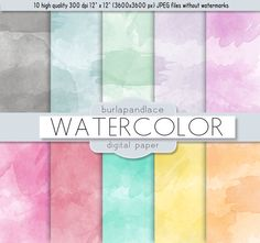 Digital paper watercolor digital patter by 1burlapandlace on Etsy