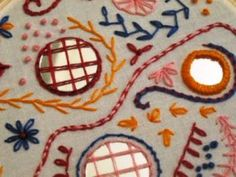 Troublet of The Trouble with Crafting shows us a style of shisha embroidery that's new to me: the American variation–the mirrors latticed in pink and red. See her tute.