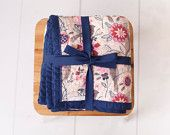 Chenille Baby Blanket/Birds and Flowers/Pink, Red, Beige and Navy