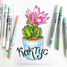 33 отметок «Нравится», 1 комментариев — РИСУЮАКВАРЕЛЬМАРКЕРЫ✏ПОРТРЕТ (@uljanaart) в Instagram: «Цветущий кактус очень красиво. Даже не подумаешь что такое суровое растение может быть так…»