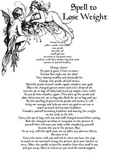 Spell for Weight Loss Real Wicca Book of Shadows pages Pagan Occult Ritual http://www.witchcraft.com                                                                                                                                                      More