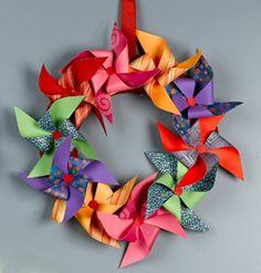 Playful Paper Pinwheel Wreath