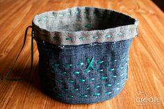 Ribbon running stitch on a denim basket/bucket. >>2createincolor.com