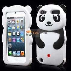 Cute 3D Panda Soft Silicone Gel Case Accessory for iPod Touch 5 - Black
