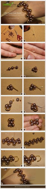 How to Make a Wide Beaded Snake Bracelet out of Glass Pearl Beads and Seed Beads   PandaHall Beads Jewelry Blog