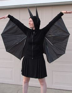 Bat homemade Halloween costume - fun, inexpensive, and a great opportunity to discuss the benefits of having bats around!
