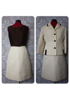 Vintage 1950's 60's Lilli Ann Brown and Cream Two Piece Dress and Jacket by pursuingandie, $275.00
