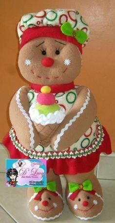 Resultado de imagen para navidad 2017 muñecos Gingerbread Crafts, Gingerbread Decorations, Christmas Gingerbread, Christmas Decorations, Felt Decorations, Gingerbread Cookies, Merry Christmas, Christmas Candy, Christmas Ornaments