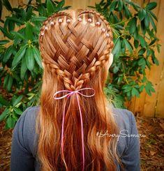 Heart braid. Valentine's hair. Basket weave hair. Elastic hairstyles. Braids for kids.