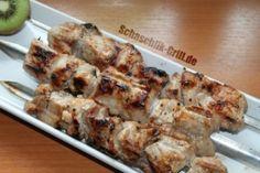 Schaschlik mit Kiwi Marinade ✓ Schaschlik Rezept ✓ Mit Kiwi einlegen ✓ Schaschlik mit Kiwi marinieren ✓ Kiwimarinade für Schaschlik ✓