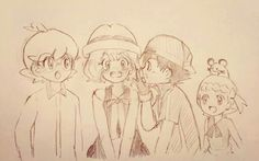 Ash Ketchum with his Kalos friends ^_^ ^.^ ♡ #Amourshipping ^.^ ♡ I give good credit to whoever made this