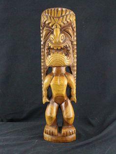 Large Vintage Hawaiian Exotic Carved Wood Tiki Tribal Art Handmade