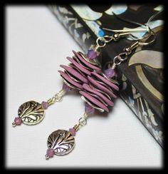 Cyclamen Vine... Handmade Jewelry Earrings Beaded Matte Polymer Clay Crystal Dangle Orchid Purple Lavender Lilac Amethyst Silver Leaf Flower