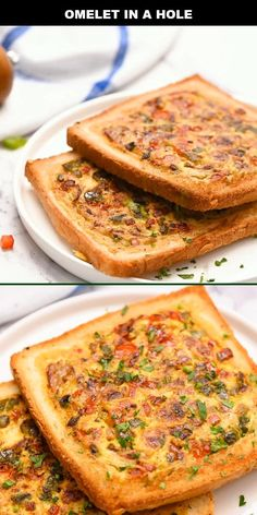 This Omelet in a Hole recipe is quick and easy, perfect for a fun family breakfast. The toast in this recipe is filled with an omelet loaded with egg, bell pepper, cheese, and bacon. Kids and adults alike go crazy for this recipe! Breakfast Dishes, Healthy Breakfast Recipes, Brunch Recipes, Recipes Dinner, Vegetarian Recipes, Quick Easy Breakfast, Breakfast Ideas With Eggs, Breakfast To Go, Microwave Breakfast