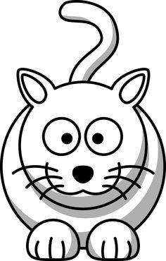 Cat drawing for kids cartoon cat black white l Cat Coloring Page, Cartoon Coloring Pages, Animal Coloring Pages, Coloring Book Pages, Coloring Sheets, Animals Black And White, Black And White Cartoon, Clipart Black And White, Black White