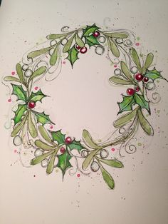 Holly and mistletoe, Watercolor Christmas card wreath. Holly and mistletoe. Watercolor Christmas Cards, Christmas Drawing, Christmas Paintings, Watercolor Cards, Christmas Art, Handmade Christmas, Christmas Wreaths, Christmas Projects, Painted Christmas Cards