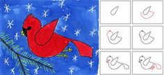 how to draw a red cardinal step by step - Google Search
