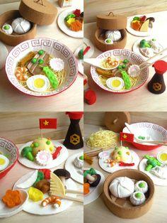 Felt food chinese restaurant noodles dim sum soup vegetables bowl dishes