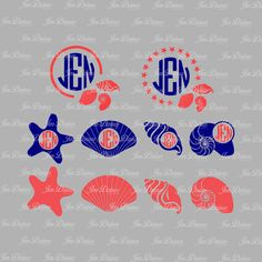 Seashell Monogram Frame, SVG DXF EPS , seashell svg, monogram design, monogram svg File, svg file for Cricut Silhouette. svg cutting file by JenDzines on Etsy