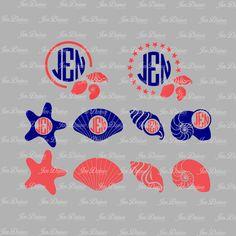 Seashell Monogram Frame, SVG DXF EPS , seashell svg, monogram design, monogram svg File, svg file for Cricut Silhouette. svg cutting file by JenDzines on Etsy