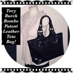"""Tory Burch Bombe Black Patent Leather Tote Bag! Tory Burch Bombe Black Patent Leather Perforated Tote Bag! Features: 100% authentic, from Tory Burch's Bombe collection, perforated front classic logo design, black patent leather, gold hardware, four protective feet, top handles, int snap closure, textile lining, 1 int slip pocket & 1 int zipper pocket w/ logo pull.  17"""" across x 9.5"""" high x 4"""" wide with 9 1/2"""" shoulder / arm clearance. Minor trim wear & very light ext marks. VG Condition…"""