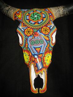Excellent Huichol Indian Mexican Folk Art Authentic Hand Beaded Bull Skull