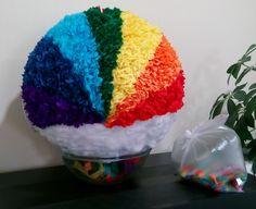 Rainbow smash pinata. Diameter 35 cm.  Please find all of my handmade pinata at: https://www.facebook.com/BudetVeselo/photos/?tab=album&album_id=1499624303687333