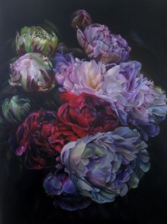 Marcella Kaspar_Once Upon a Time_188cmx140cm_oil on linen_2012_peonies