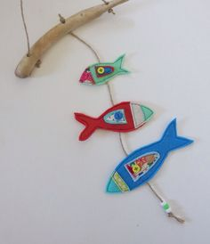 fish mobile nursery mobile fish and driftwood hanging Dog Birthday Presents, Birthday Cakes, Fish Mobile, Fabric Fish, Hanging Mobile, Craft Business, Kids Cards, Handmade Gifts, Handmade Items