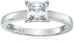 PlatinumPlated Sterling Silver Swarovski Zirconia PrincessCut Solitaire Ring 1 cttw Size 7 -- More info could be found at the image url.