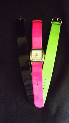 Indeed watch with 3 interchangable bands pink/green/black #indeed
