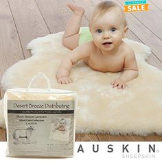 """100% Natural Sheepskin Baby Care Rug, Soft Dense Shorn Wool, Premium Quality, Specially Tanned and Sanitized by Auskin, size XL 37"""" and up"""