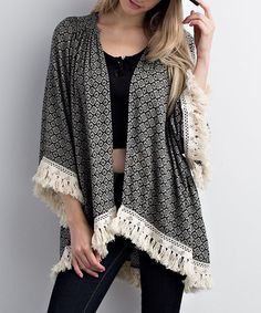 Loving this Black & White Floral-Dot Fringe Kimono on #zulily! #zulilyfinds