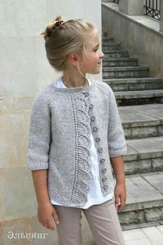 "Lana niña. Chaleco [ ""Knitted cardigan for girls. Ravelry: Cove Cardigan pattern by Heidi May"", ""Knitting Archives - Page 2 of 10 - Crafting Today"", ""gorgeous cardi with leaf design edge"", ""Sweet - love the band treatment"", ""club you join in Russian language Knitted cardigan for girls"", ""I like the plain sweater with the detailing being only the band"", "" I really need to learn Russian! I love this pattern and will figure it out :)"", ""Make my size and add collar."", ""Please , ..."