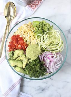 Utilize farmer's market fresh produce in this Raw Zoodle Salad with Avocado Miso Dressing for a tasty side dish or main that screams summer! Lunch Recipes, Whole Food Recipes, Salad Recipes, Healthy Recipes, Keto Recipes, Healthy Foods, Salad Ingredients, Recipes, Salads
