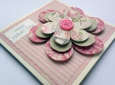 Mothers Day Card Flower Pretty Flower by HandmadePeaCards Mother Card, Mothering Sunday, Girlfriend Birthday, Daddy Birthday, Classroom Crafts, Fathers Day Cards, Mothers Day Crafts, Cards For Friends, Flower Cards